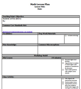 Common Core & Danielson Aligned Lesson Plan Templates