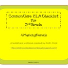 Common Core ELA Checklist for 3rd Grade  4 Marking Periods!