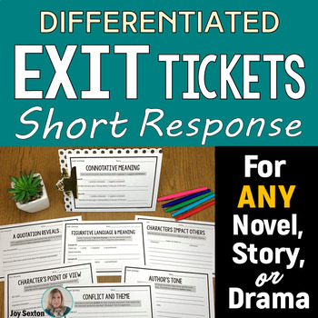 Common Core Differentiated Short Response Slips for Literature