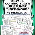 Common Core ELA Standards Checklists Grades 9-10