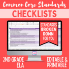 Common Core ELA Standards Editable Checklist- 2nd Grade