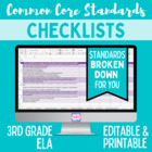 Common Core ELA Standards Editable Checklist- 3rd Grade