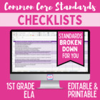 Common Core ELA Standards Editable Checklist- First Grade