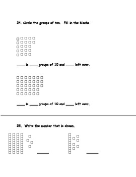 Common Core First Grade Math Assessment 2nd Quarter