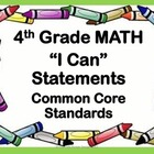"Common Core ""I Can"" Math Posters - 4th Grade"