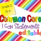 Common Core I Can Statements ELA Grade 2 Primary Colors