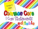 Common Core I Can Statements Math Grade 6 Primary Colors