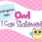 Common Core I Can Statements Math Grade K Pastel Owl