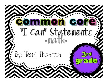 "Common Core ""I Can"" Statements Wall Set: 3rd Grade"
