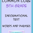 Common Core Informational Text - Words and Phrases Cards