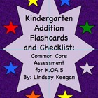 Common Core Kindergarten Addition Fluency Flashcards and C