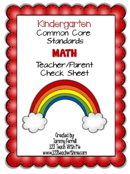 Common Core- Kindergarten Math: Teacher/Parent Check Sheet
