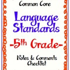 "Common Core Language Standards - 5th Grade ""Notes & Commen"