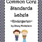 Common Core Lesson Plans Labels - Kindergarten