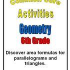 Common Core Math 6th Grade Geometry 6.G.1 Area Parallelogr