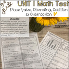 Common Core Math Assessment 3rd Grade Unit 1 (NBT.1 & 2)