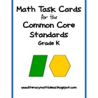 Common Core Math Assessment Task Cards:  Grade K