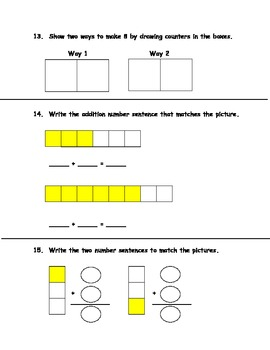 Common Core Math Assessment for First Grade First Quarter