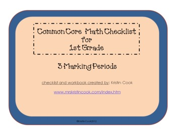 Common Core Math Checklist for 1st  Grade – 3 Marking Periods!