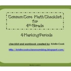 Common Core Math Checklist for 4th Grade – 4 Marking Periods!