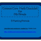 Common Core Math Checklist for 5th Grade – 3 Marking Periods!