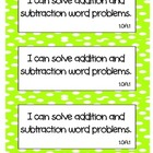 Common Core Math &quot;I Can&quot; Statements 1st Grade- Colored