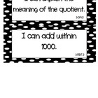 Common Core Math &quot;I Can&quot; Statements 3rd Grade- Black and White