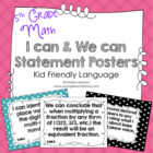Common Core Math I can and We can Statement Large Posters