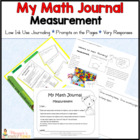 "Common Core Math Journal for K or 1 ""Measurement"""