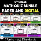 Common Core Math Quiz Bundle - 5th **All 7 Units & All Sta
