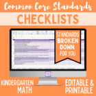 Common Core Math Standards Editable Checklist- Kindergarten