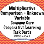 Common Core Math Task Cards -  Equations With an Unknown V