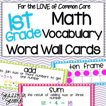 Common Core Math Vocabulary Cards for 1st Grade