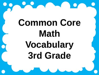 Common Core Math Vocabulary PowerPoint for 3rd Grade