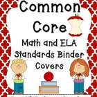 "Common Core Math and ELA Binder Covers with 2"" Spines"
