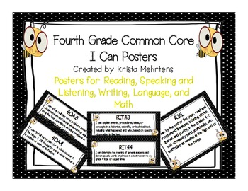 Common Core Posters for 4th grade- Student Friendly