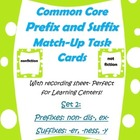 Common Core Prefix &amp; Suffix Match Task Cards 2 -er, ness, 