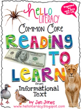 Common Core RIT: Comprehension Strategy Sheets for K-2 Inf