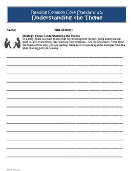 Common Core Reading Assessment THEME Worksheet and Rubric