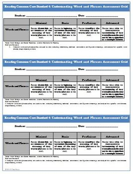 Common Core Reading Assessment WORDS, PHRASES  Worksheet, Rubric