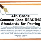 Common Core Reading/Writing Posters for posting (4th grade)