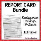 Common Core Report Cards for K - 5:  Also Available Separa
