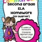 Common Core Second Grade Language Arts Homework-1st Quarter