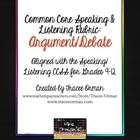 Common Core Speaking & Listening Rubric: Argument Debate Speech