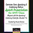 Common Core Speaking & Listening Rubric: Speech Presentati