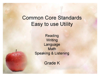 Common Core Standands - Print and Keep Track - Grade K