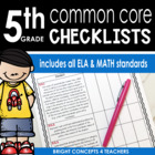 Common Core Standards Checklist-Fifth Grade