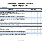 Common Core Standards Checklist First Grade -ELA