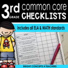 Common Core Standards Checklist-Third Grade