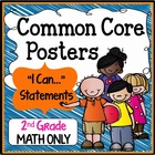 "Second Grade Common Core Standards ""I Can Statements"" - MATH ONLY"
